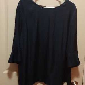 Boden Navy Silk Blouse with 3/4 Flutter Sleeves